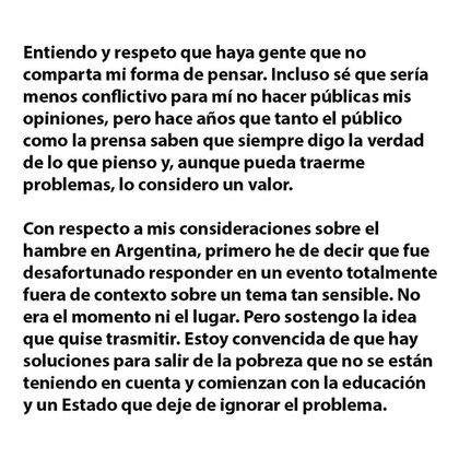 Un fragmento del comunicado de Susana Giménez (Instagram)
