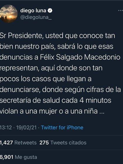 Cuenta de Twitter de Diego Luna, muestra descontento ante el registro de Félix Salgado (Foto: Twitter)