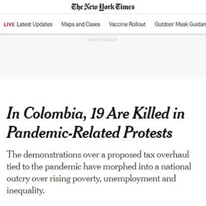 Artículo del NYT sobre las protestas en Colombia. Foto: NYT.