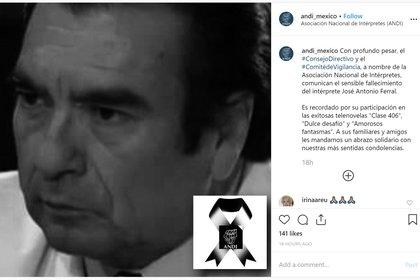 El actor José Antonio Ferral falleció el domingo por la tarde (Foto: Instagram)
