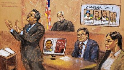 Illustration du procès Guzmán à New York (Photo: Reuters)
