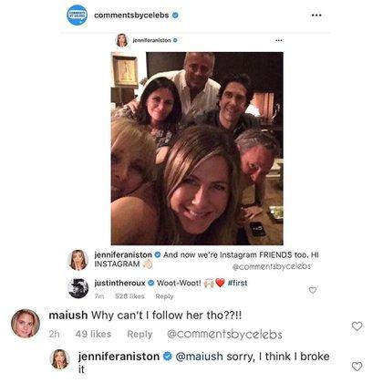 """Una fan comentó que no podía seguirla, y Aniston respondió: """"Perdón, creo que lo rompí"""""""