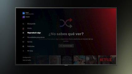 La plataforma de contenidos en 'streaming' Netflix ha lanzado este miércoles la nueva función 'Reproducir algo'