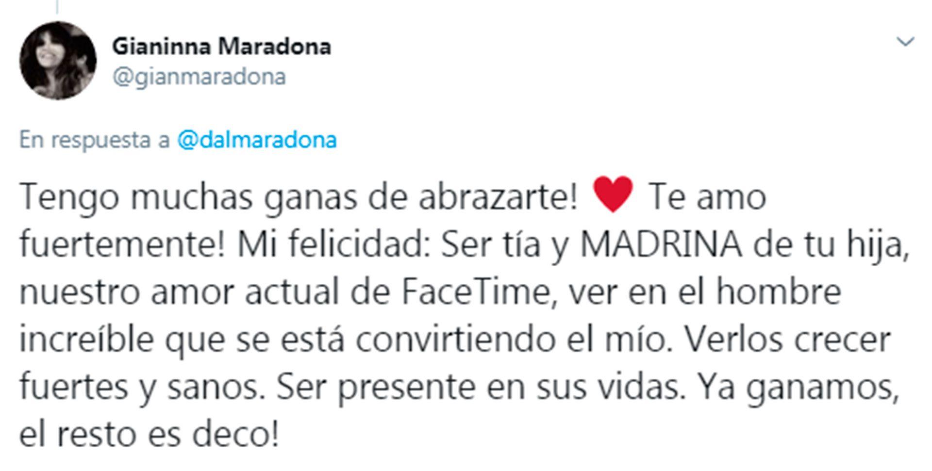 Mensaje de Gianinna Maradona