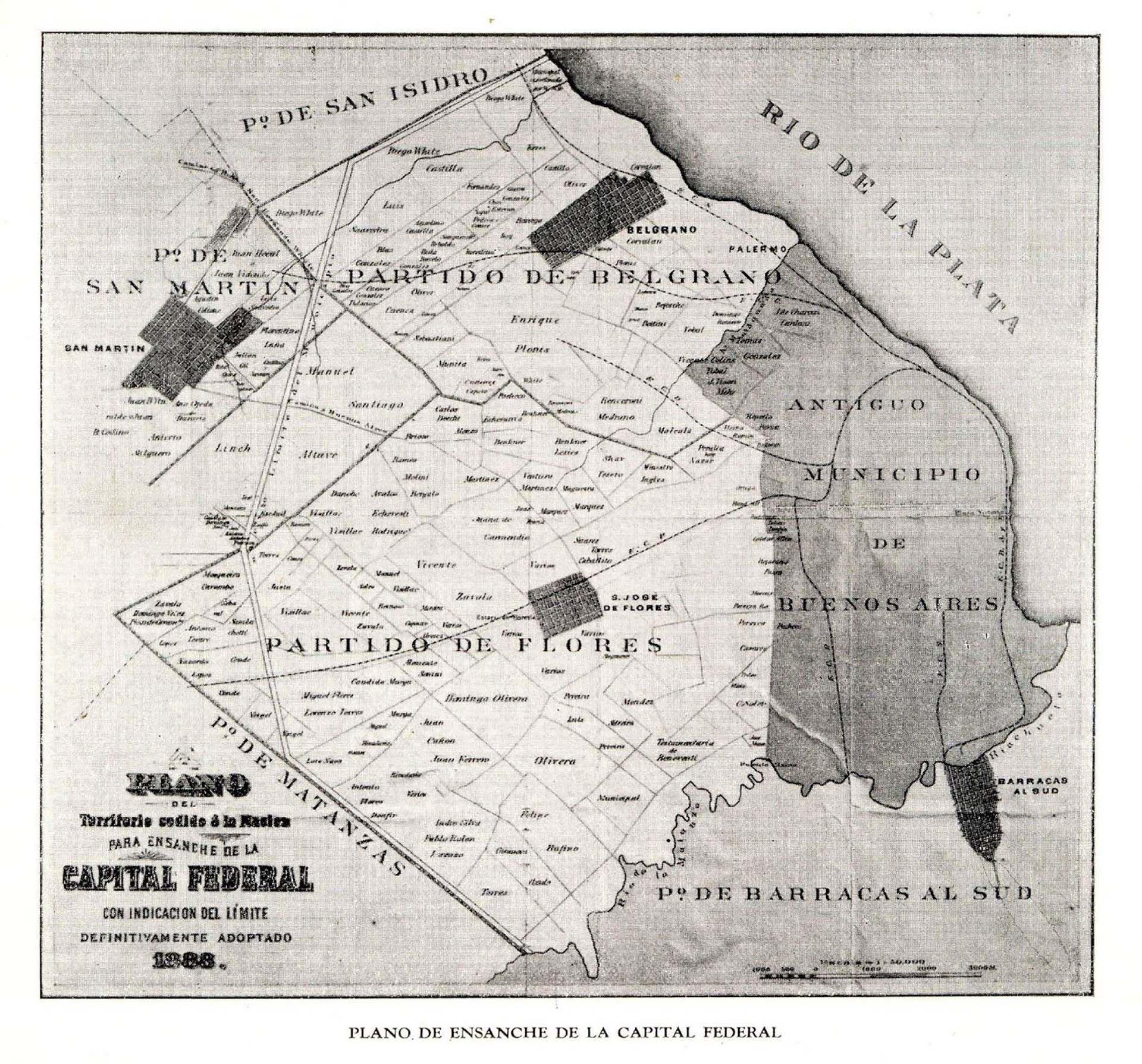 La Ciudad en su faz decimonónica junto a los pueblos de Flores y Belgrano, que luego se anexaron.