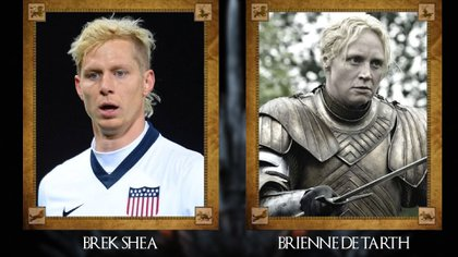 Brek Shea (futbolista estadounidense) con Brienne de Tarth