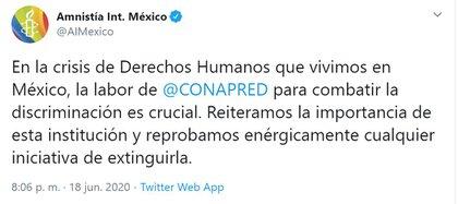 Amnistía Internacional apoya al Conapred (Foto: Twitter / @AIMexico)