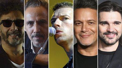 Fito Páez, Alejandro Lerner, Chris Martin, Alejandro Sanz y Juanes