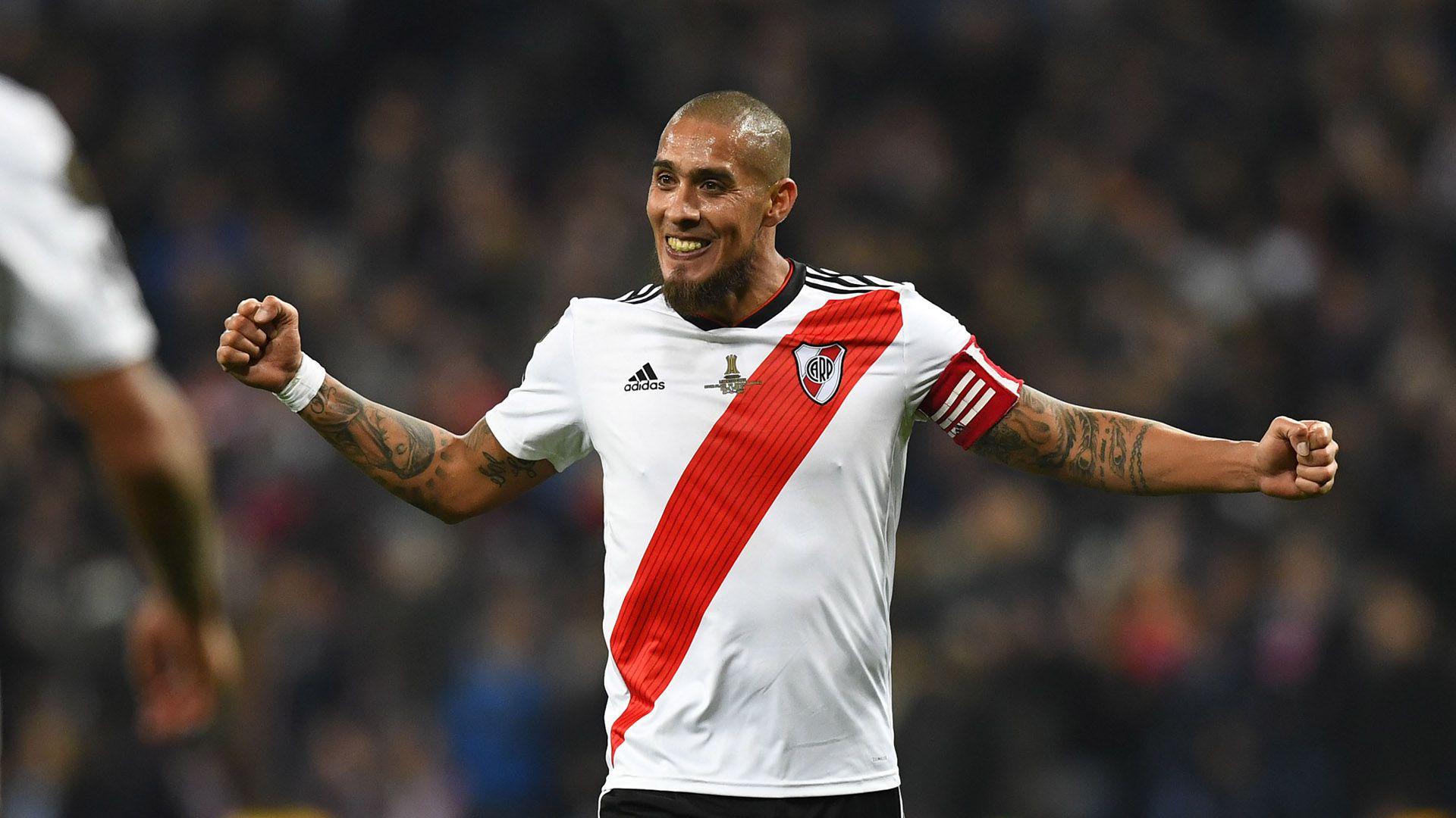 El festejo de Maidana tras vencer a Boca en la final de la Copa Libertadores 2018 (Gabriel BOUYS / AFP)