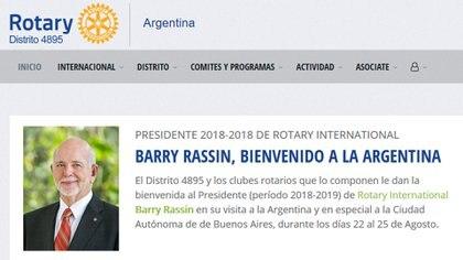 El distrito 4895 que abarca a la Ciudad de Buenos Aires, le da la bienvenida a Rassin