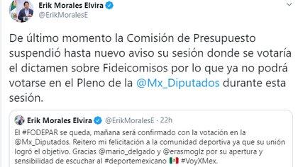 Érick Morales lamentó la suspensión del dictamen (Foto: Twitter/ @ErikMoralesE)