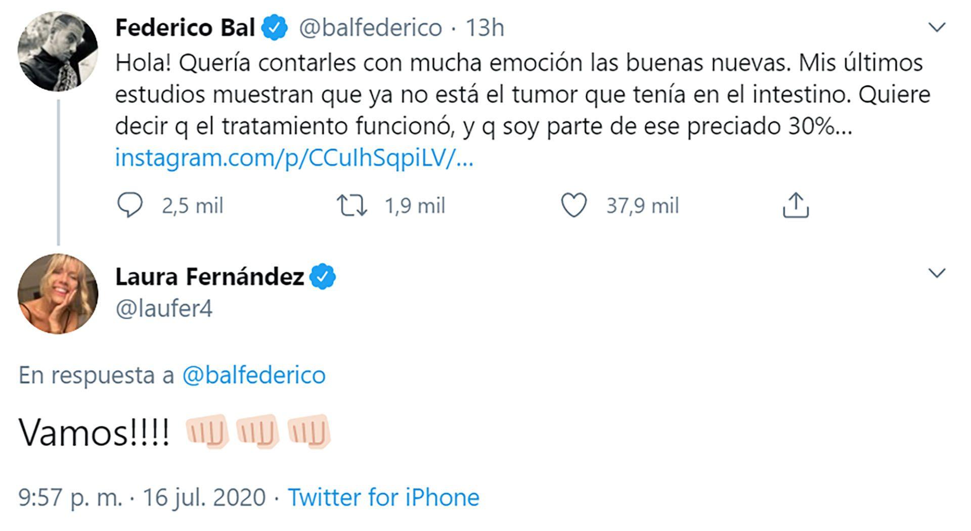 Mensaje de Laurita Fernandez a Fede Bal