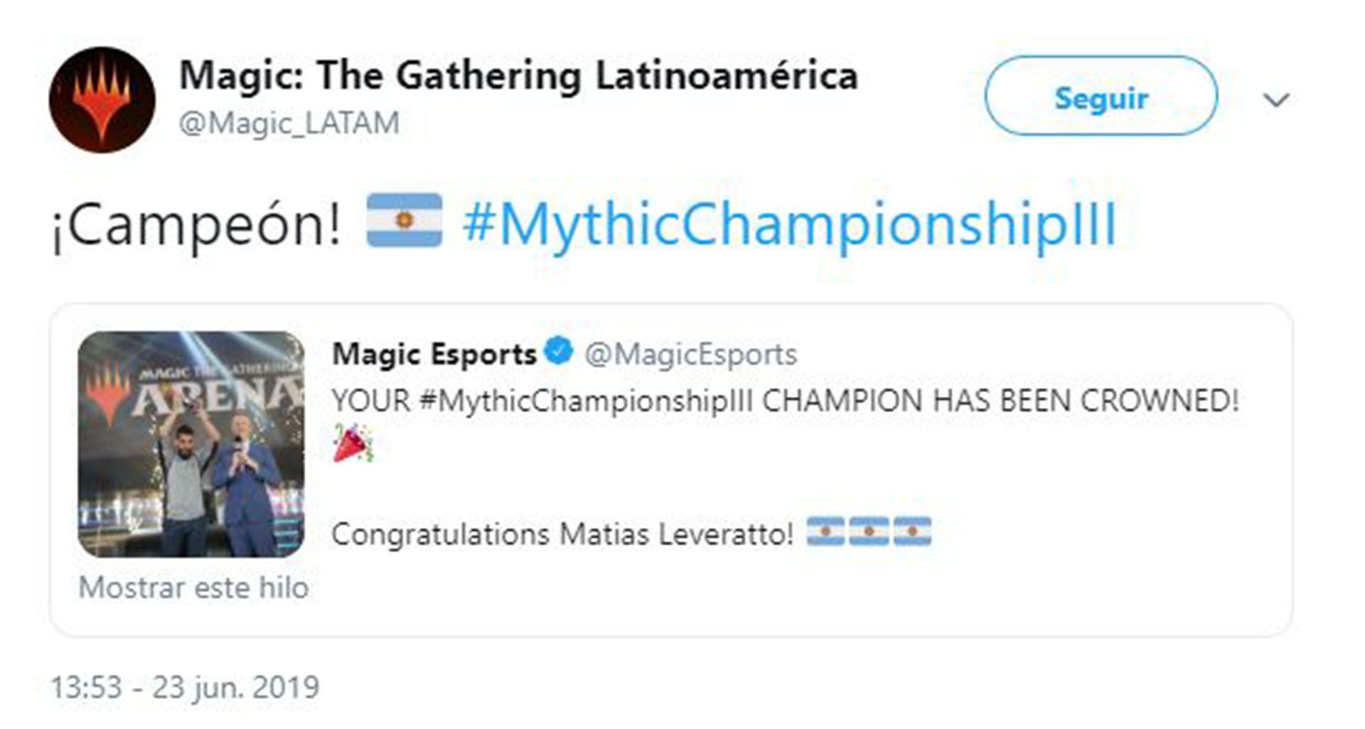 La cuenta de Twitter del juego en Amériica Latina anunciando el logro de Leveratto
