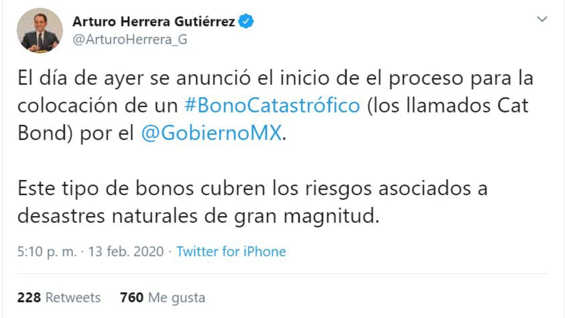 Fue a través de un Tweet publicado la tarde del jueves 13 que Arturo Herrera dio a conocer la colocación del bono catastrófico por parte de México ante el Banco Mundial (Foto: Twitter/@ArturoHerrera_G)