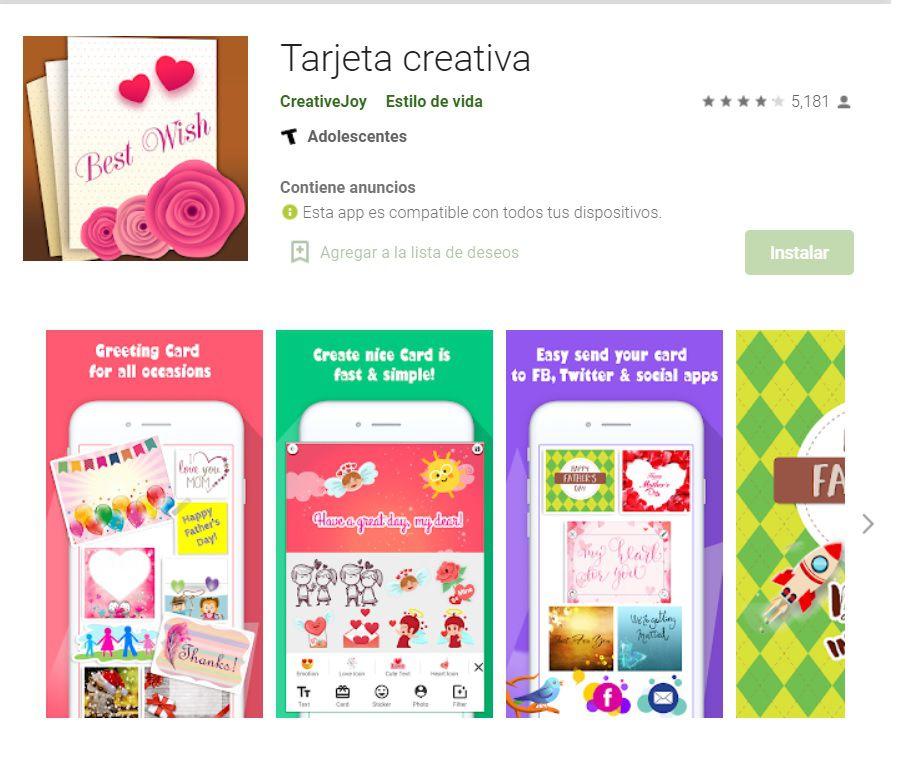 Tarjeta creativa cuenta con varios diseños