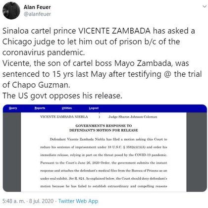 """Las autoridades estadounidenses declararon que el narcotraficante """"no ha establecido razones extraordinarias y convincentes que justifiquen su liberación"""" (Foto: Twitter)"""