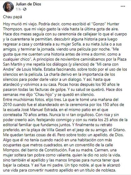 El posteo de Julián de Dios en Facebook para despedir a su padre.