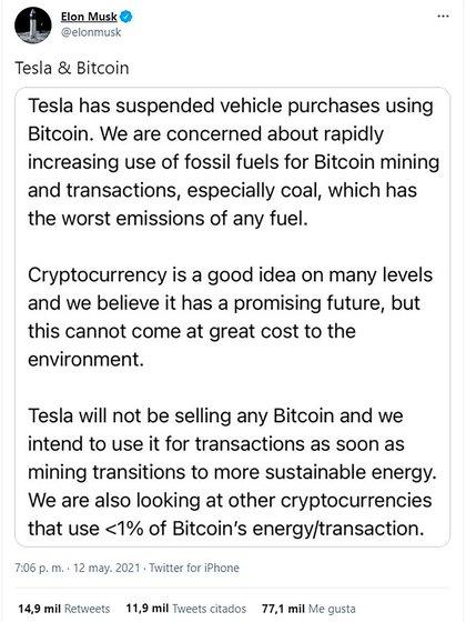 El mensaje de Elon Musk en Twitter.