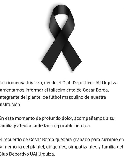 El comunicado del club UAI Urquiza sobre la muerte del defensor César Borda