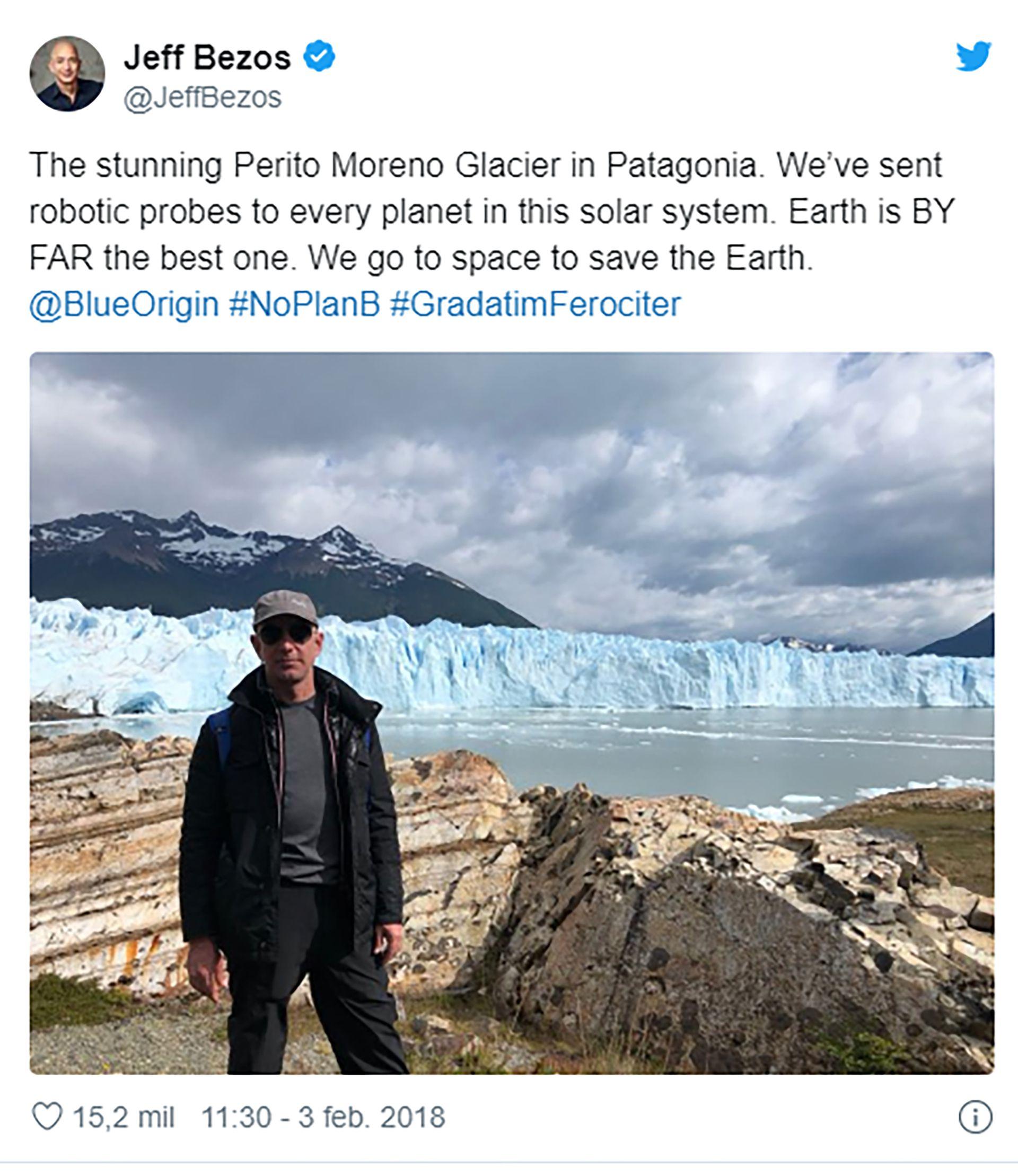 Jeff Bezos Amazon - Glaciar Perito Moreno - Blue Origin