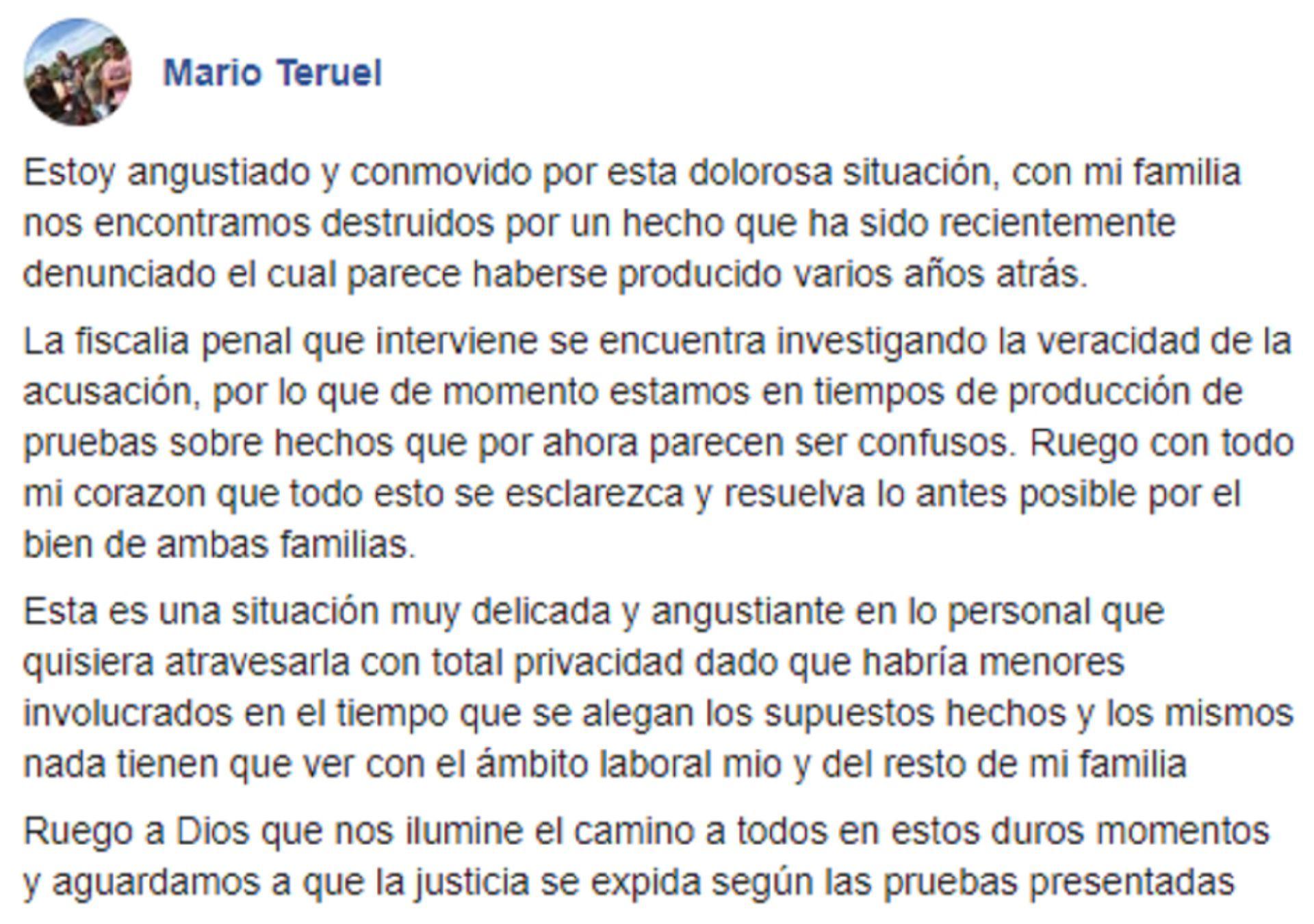 El comunicado de Mario Teruel, el padre del imputado, en sus redes sociales