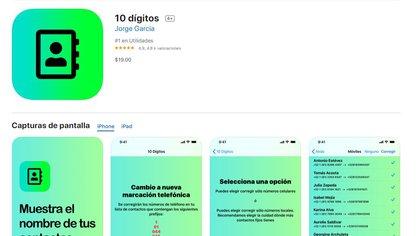 10 dígitos es una aplicación con un costo de $19 y también está disponible para Android (Foto: Captura de pantalla)