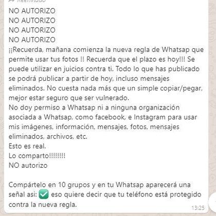 """De acuerdo a la """"cadena"""" con los nuevos términos de WhatsApp, la plataforma tendrá acceso a las fotos  (Foto: Captura de pantalla)"""