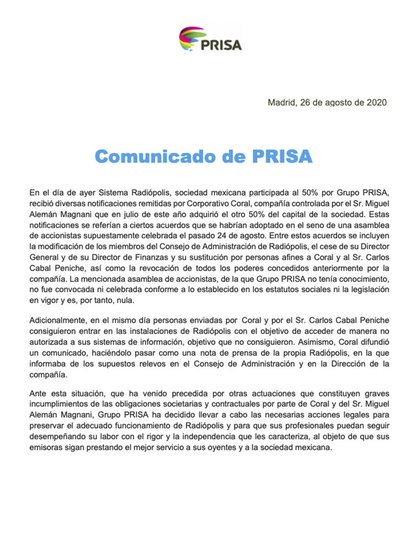 Comunicado PRISA (Foto: PRISA)