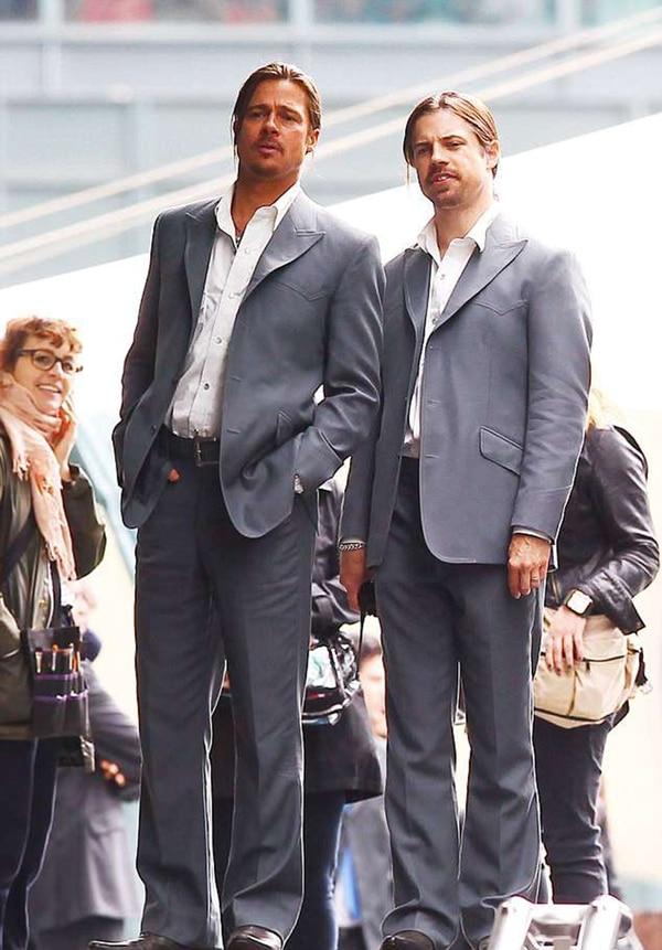 "Brad Pitt (izquierda) junto a Phil Ball durante el rodaje de ""The Counselor"" en agostos de 2012"