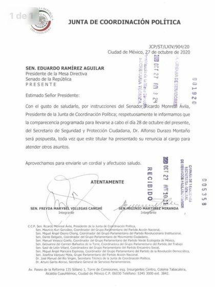 El Senado confirmó la renuncia de Durazo al suspender su comparecencia programada para este miércoles (Foto: Especial)