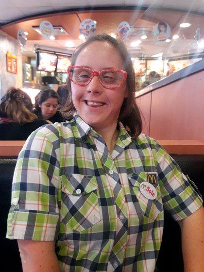 María Soledad Visco tiene 37 años y trabaja en McDonald's desde 2017