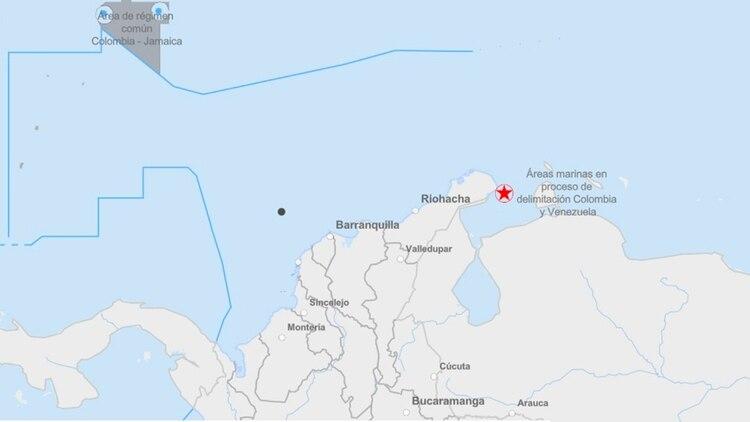 La ubicación del supuesto campamento de Riohacha en realidad está en alta mar, cerca a la ciudad costera de Barranquilla.