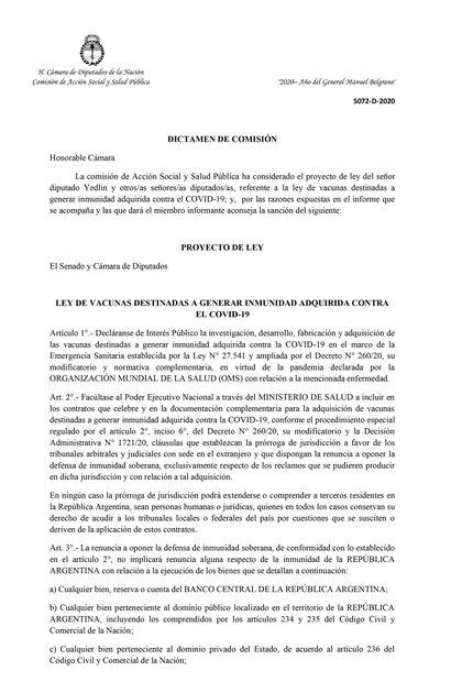 La portada del dictamen del proyecto de Ley que espera este viernes  ser aprobado por el Congreso, para que el Estado Nacional pueda comprar vacunas contra el  COVID-19. Se prevé comprar más de 22 millones de unidades de la vacuna de Oxford-AstraZeneca