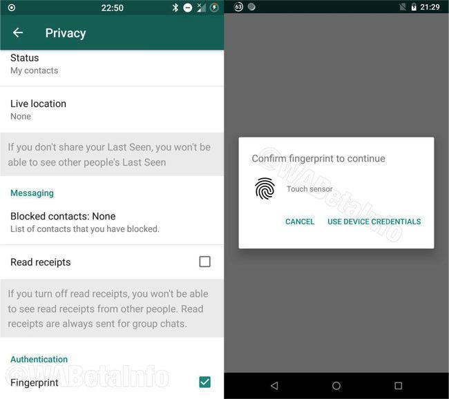 El bloqueo por huella dactilar suma una capa adicional de seguridad a la app.