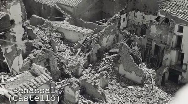 """En el documental """"Experimento Stuka"""" se muestran los despojos de cuatro pueblos españoles indefensos. En este caso, Benassel, en Castellón"""