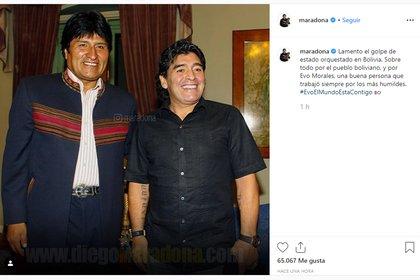 El mensaje de apoyo de Diego Maradona a Evo Morales