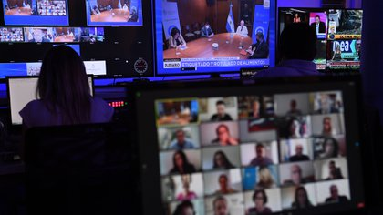 Reuniones remotas en el Senado de la Nación (Foto archivo: Juan Carlos Cardenas / COMUNICACIÓN SENADO)