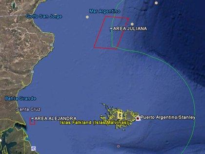El área Juliana está delimitada por las latitudes y longitudes 46° 00′ S, 61° 30′ W- 46° 00′ S, 59° 34′ W- 47° 50′ S, 60° 24′ W, 47° 50′ S, 62° 20′ W