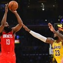February 6, 2020; Los Angeles, California, USA; Houston Rockets guard James Harden (13) shoots against Los Angeles Lakers forward LeBron James (23) during the first half at Staples Center. Mandatory Credit: Gary A. Vasquez-USA TODAY Sports