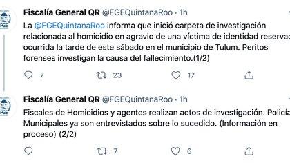 La Fiscalía General de Quintana Roo abrió una carpeta de investigación relacionada al homicidio en agravio de una mujer en Tulum (Foto: Captura de pantalla / Twitter @FGEQuintanaRoo)