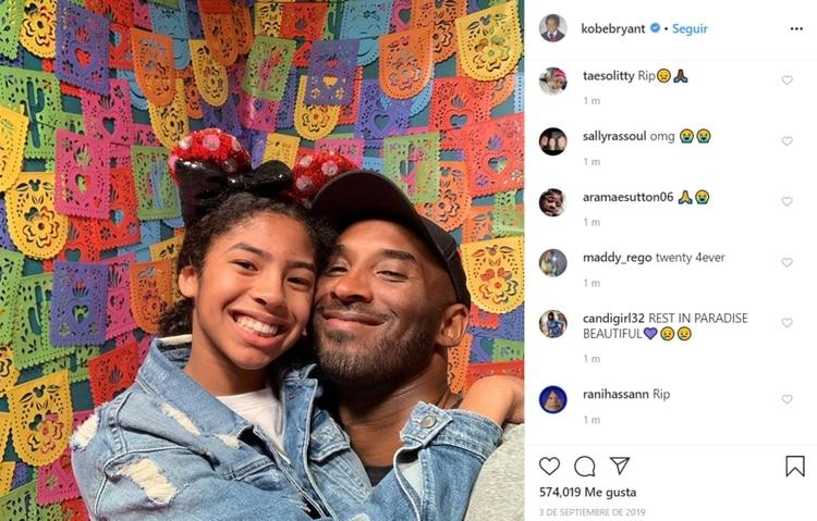 Kobe Bryant en compañía de su hija que también falleció en el accidente aéreo (Foto: Instagram)