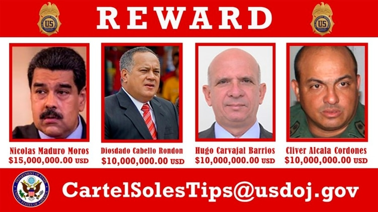 Maduro y otras figuras chavistas fueron acusados de narcoterrorismo (Foto: Twitter)
