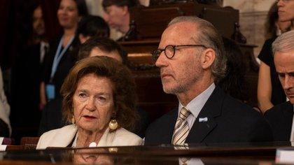 Elena Highton de Nolasco junto a Carlos Rosenkrantz, vicepresidenta y presidente de la Corte Suprema de Justicia (Adrián Escandar)