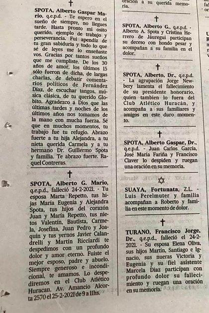 """Primero el mensaje de Raquel Contreras, la amante de Spota quien lo llama """"mi osito querido"""". Abajo, el de su mujer, Marta Repetto"""