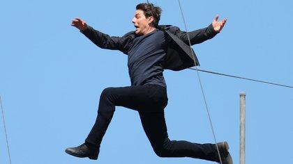 """Tom Cruise durante el rodaje de la sexta parte de """"Misión Imposible 6"""""""