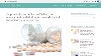 La que alguna vez fue la página oficial de Pacto por México, hoy es una página japonesa sobre el virus del herpes. Foto: Impresión de pantalla