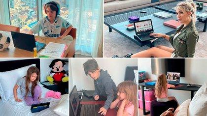 Wanda y sus hijos en las tareas cotidianas (Instagram)