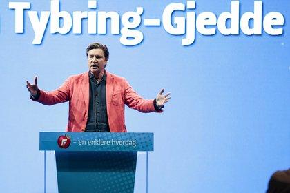 Tybring-Gjedde habla en la reunión nacional de su Partido Progreso en Gardermoen, Noruega (AP)