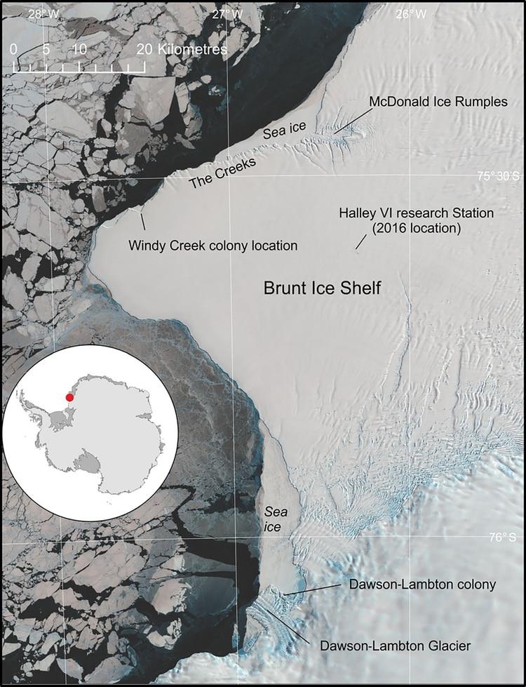 Vista general de la plataforma de hielo Brunt, que muestra la ubicación de las colonias de pingüinos emperador de Halley Bay y Dawson-Lambton.