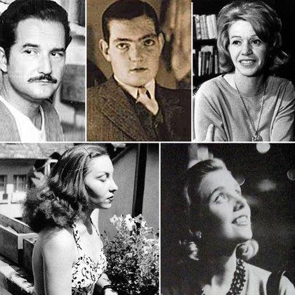 Ariba: Carlos Fuentes, Julio Cortázar y Elena Garro. Abajo: Clarice Lispector y Elena Poniatowska